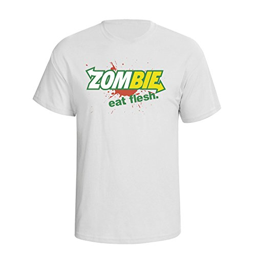 Zombie Eat Flesh Funny Spoof Slogan Mens Herren Fit T-Shirt Weiß