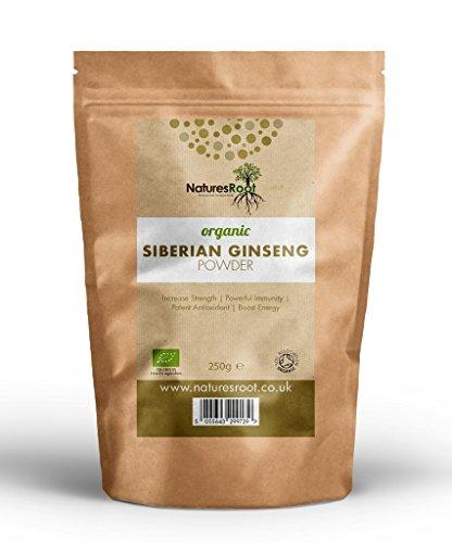 Natures Root Sibirischer Ginseng Pulver Bio - Rohkostqualität | Superfood für Vegetarier | Boost Ausdauer und Immunität (250g)