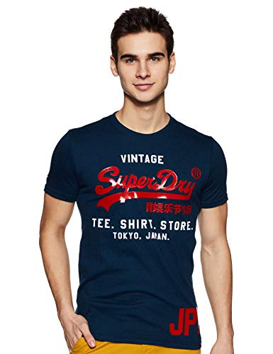 Superdry Herren T-Shirt Shop Duo Tee, Blu (Teal Grit Uy9), Medium