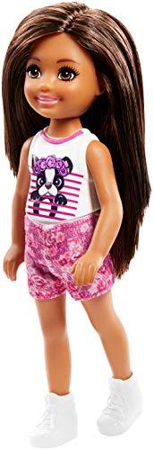 Barbie Famille mini-poupée Chelsea fille avec haut orné d'un motif chien, jouet pour enfant, FRL81