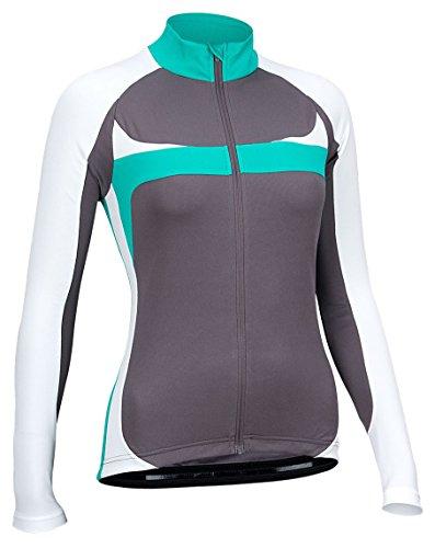 Avento Damen 81BR Cycling Shirt Long Sleeve, Antracite/White/Green, 38 Preisvergleich
