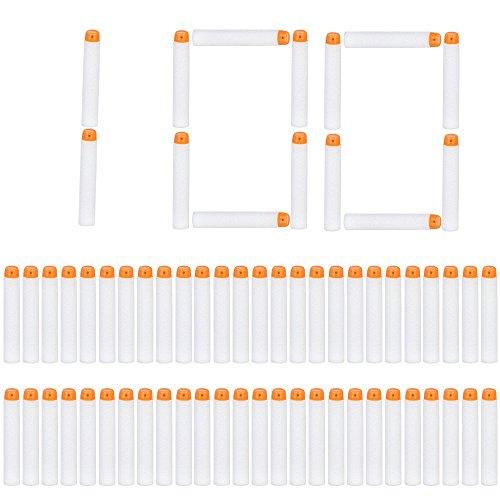 Little Valentine 100 Stück 7,2 cm Refill Darts Foam Pfeile Ammo Pack für Nerf N-Strike Elite Modulus Glühen Bei Dunklen Pfeile - Weiß (Pfeil-box)