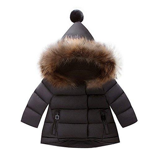 BAINASIQI Baby Jungen Mädchen Kapuzenjacke Steppjacke Mantel Warme Winterjacke Niedliche Baumwolle Outerwear (80 (Höhe 70-80cm), Schwarz)