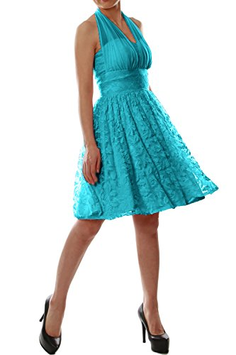 MACloth Women Halter Lace Short Bridesmaid Dress Wedding Party Cocktail Gown Turquoise