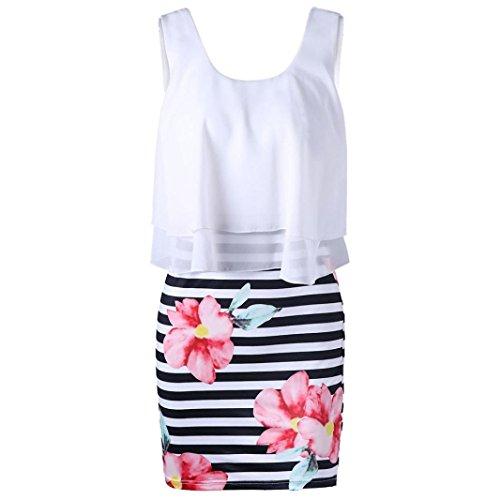 OYSOHE Damen Mode Casual Blumen Gestreiften Druck Engen O Ausschnitt Chiffon Mini Tank Kleid (Blume Weihrauch)