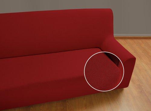 VELFONT – Bielastischer Sofabezug Universal - 3-Sitzer - Rotbraun - verfügbar in verschiedenen Größen und Farben