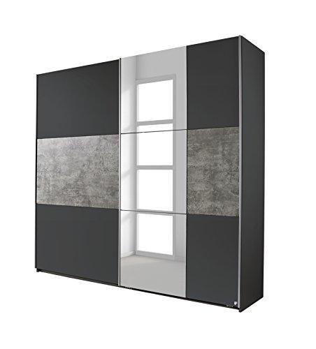 Schwebetürenschrank 261cm grau/Betonoptik mit Spiegel rauch packs