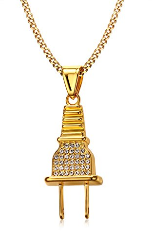 Vnox Männer Edelstahl 18K Gold überzogen Hip Hop Kristall Rhinestone Stecker Anhänger Halskette,Free Curb Chain