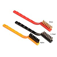 Printme Cleaning Brush Set with Hard Bristles Firm Handle Grip for Scrubbing Removing Rust from Gas Wall Frames Car Kitchen Stove Etc Kitchen Tool (Stainles Steel Brush + Brass Brush + Nylon Brush)