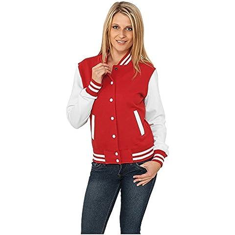 Ladies 2-tone College Sweatjacket Urban Classics Streetwear Chaqueta Para Mujer, red/wht, S