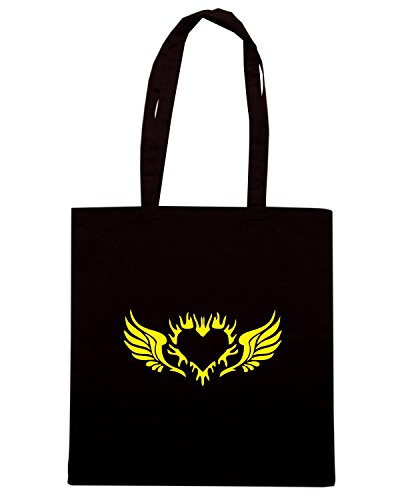 T-Shirtshock - Borsa Shopping FUN0592 angel wings decal with heart 29267 Nero