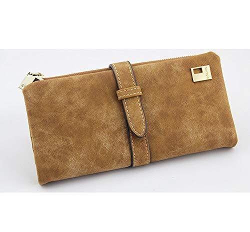 YUHUANG Lange 2er-Packs, Damen-Falttasche mit Lederschnur mit Reißverschluss, Damen-Wildleder-Brieftasche und Damenhandtasche,A -