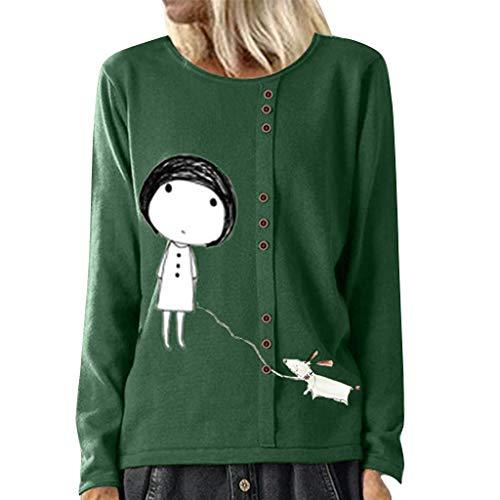 SoonerQuicker Pullover Sweatshirts Herbst und Winter Frauen Arbeiten gedrucktes Knopf langärmliges O Ansatz LooseTops Blusen T Shirt um Grün M -