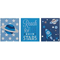 Premier Housewares Kid's Reach for The Stars Wall Plaques - Blue, Set of 3