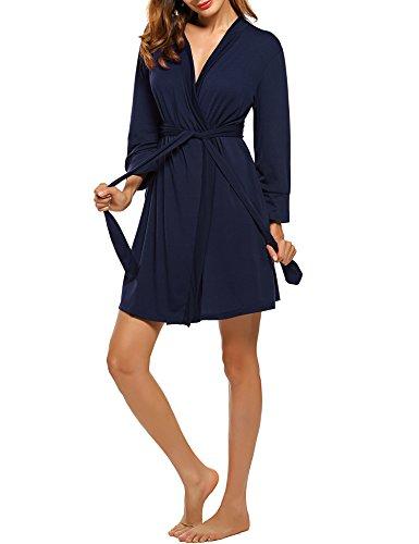 HOTOUCH Damen Morgenmantel Bademantel Nachtwäsche Kimono Saunamantel Mit Tiefer V-Ausschnitt Schlafanzug Aus Baumwolle -