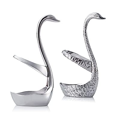 ParaCity Stainless Steel Swan Style Holder Coffee Dessert Spoon Fruit Fork Cutlery Rest Set Tableware Holder for Home Kitchen Table Decoration
