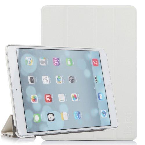 iHarbort Premium iPad Air Leder Tasche Case Etui Sleeve Smart Cover Schutzhülle Hülle (iPad Air - weiß) Schweißer Kamera