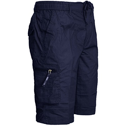 Mens Plain Summer Shorts Pure Cotton Cargo Combat Style (X-Large, Navy)