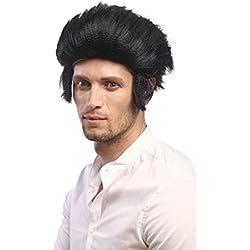 WIG ME UP ® - 90640-P103 Peluca hombres Carnaval Halloween Rockabilly Elvis lobo Mod Wolfman patillas cardar algo negro