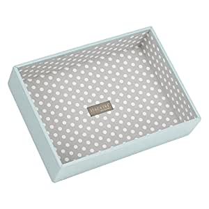 STACKERS 'CLASSIC SIZE' Duck Egg Blue Deep Open Section STACKER Jewellery Box with Grey PolkaDot Lining.