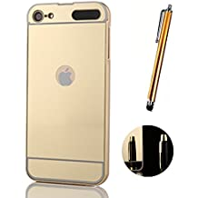 Funda Espejo para Apple iPod Touch 6G / 5G Aluminio Metal Carcasa Color Oro