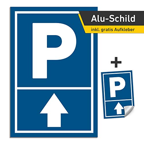 3mm Alu Schild Pfeil oben 20x30cm Parkschild Parkplatz (mit Bohrung)