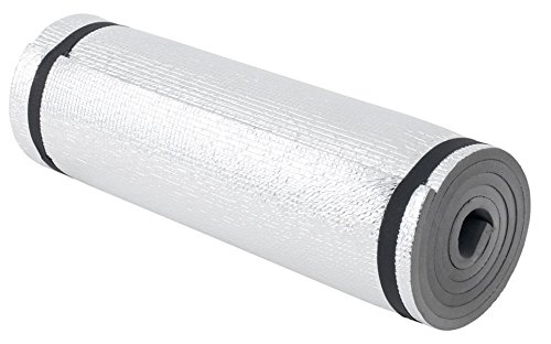 Ultraleichte Camping Isomatte mit Aluminiumbeschichtung / Alu-Thermomatte 200 x 50 x 1 cm (Schwarz)