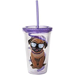 Doug the Pug Sipper Cup with Curly Straw by Fizz