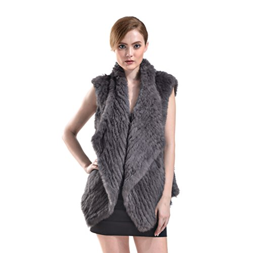 OLLEBOBO Vera Pelliccia Gilet Donna Coniglio Fur Sleeveless Cardigan Comoda Grigio scuro