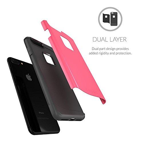 Cover iPhone 7 Plus , Snugg Apple iPhone 7 Plus Custodia Case [Scudo Sottile] Protettiva Per Pelle – Oro, Infinity Series Coral Red