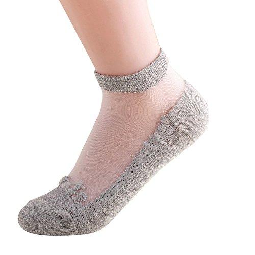 KPILP 1 Paar Damen Sneakersocken Weiche Ultradünne Transparente Strümpfe Elegante Schöne Kristallspitze Elastische Kurze Socken Freizeitsocken,Grau - Falke-high Heel