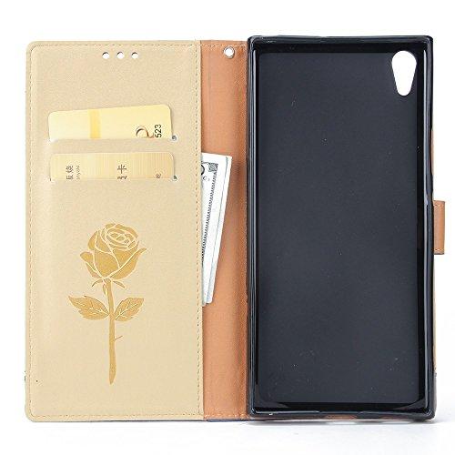 Gemischte Farben Rose Blume matt Premium PU Leder Brieftasche Stand Case Cover mit Lanyard & Card Slots für Sony Xperia XA1 UITRA ( Color : Brown ) Gold