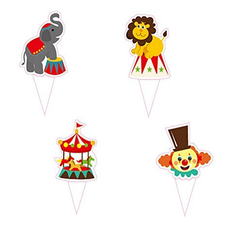 Circus Carnival Theme Favor Tags Cupcake Bun Cake Topper Party Decoration by Princess-J