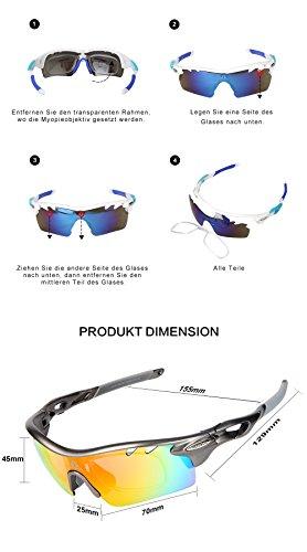 HODGSON Fahrradbrille Sport Sonnenbrille für Herren und Damen Polarisierte, Sportbrille mit 5 Wechselobjektiven und Radsports, Baseball, Laufen, Tr90-Rot … - 6