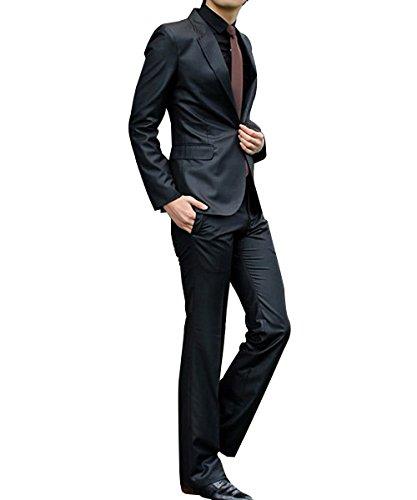 Herren Business Anzug 1-Knopf-Anzugjacke mit Anzughose Hell Schwarz