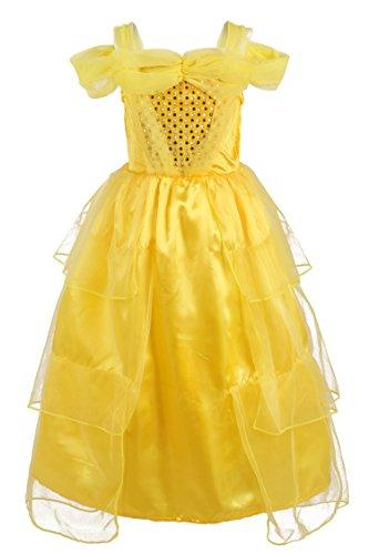 JerrisApparel Mädchen Prinzessin Belle Gelb Party Kleid Kostüm (4 Jahre, (Mädchen Kostüme Das Halloween Cupcake)