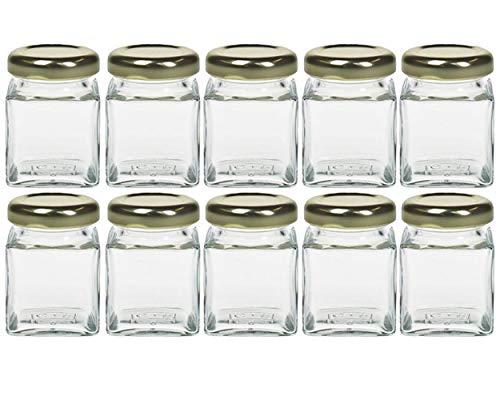 Gewürzgläser Set mit schraubverschluss | 10 teilig | Gold | Füllmenge 50 ml | Cub Eckig Hochwertiges Glas | Glasdose Glasgefäß ideal für Salz Pfeffer Sonnenblumenkerne kürbiskerne Kandis Bonbons