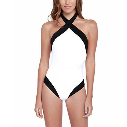 Bellezza Donna Costumi interi Halterneck Strisce Color Block Attraversare Push-up Bikini Costumi da Bagno Mare e piscina Vacanza