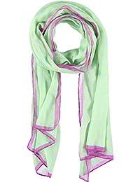 Passigatti Polyester Schal mit Punkten und Farbrand 200 x 70 cm Damenschal: Farbe 77-Mint