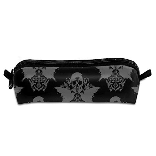 (Skull And Raven Damask Pencil Pouch Bag Stationery Pen Case Makeup Box with Zipper Closure 21 X 5.5 X 5 cm)