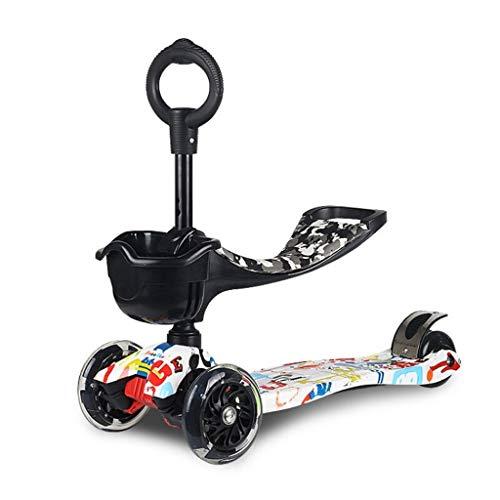 Fenfen-cz Multifunktions-3-in-1-Kinder-Tretroller 3 Verstellbarer Höhen-Roller mit PU-Blinkrädern mit abnehmbarem Sitz für Kinder Jungen Mädchen Alter 1-17 (Farbe : Camouflage Weiß)