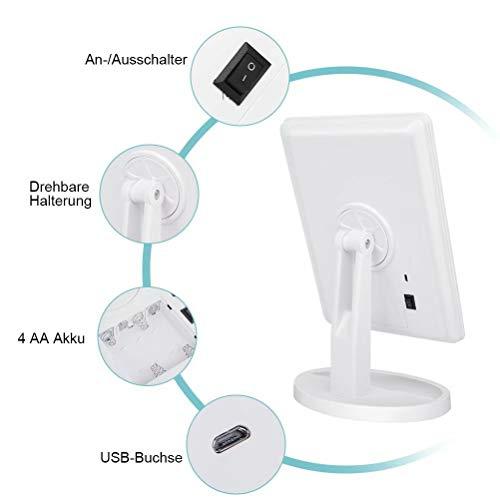 KYG Schminkspiegel mit 16 LEDs Beleuchtung, USB Wiederaufladbarer Kosmetikspiegel,  batteriebetrieber Tischspiegel, dimmbarer Make up Spiegel Standspiegel, Weiß - 4