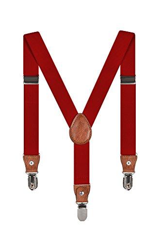 Baby Kinder Hosenträger Einfarbig Gürtel Elastisch Leder 3 Clips Jungen Mädchen Hosen Röcke Tutu Shorts Bequem Träger - Dunkelrot (Rote Hosenträger Kostüm)