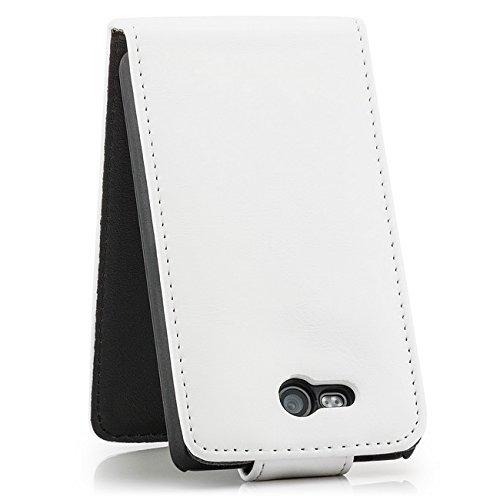 Saxonia Apple iPhone SE 5 5S Hülle Flip Tasche Case Hülle Schutzhülle Magnetverschluss Schwarz-Braun Weiß II