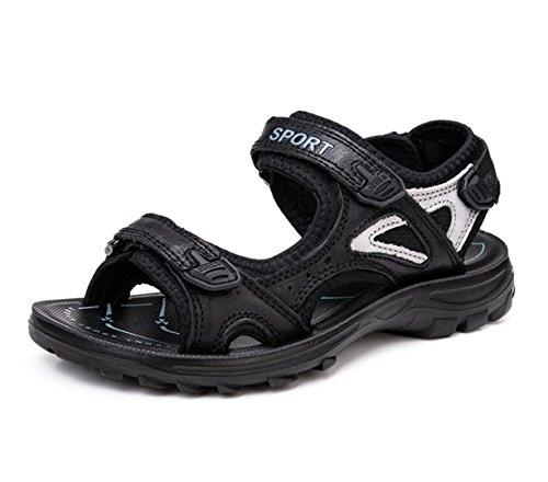 WZG New sandales en cuir chaussures d'été d'escalade sportive de loisirs de plein air sandales de plage pataugeoires appartements Black