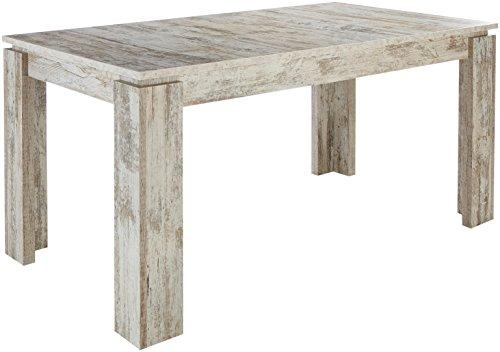 trendteam ET Esstisch Küchentisch ausziehbar | Pinie Weiß | Shabby Chic | 160 - 200 x 90cm