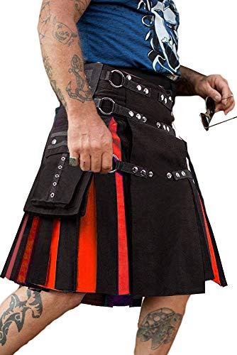 Mensleben Herren Schottischer Utility Kilt Klassischer Rock Highland Kleid Taktischer Cargo Kilt Traditionell Schottenrock