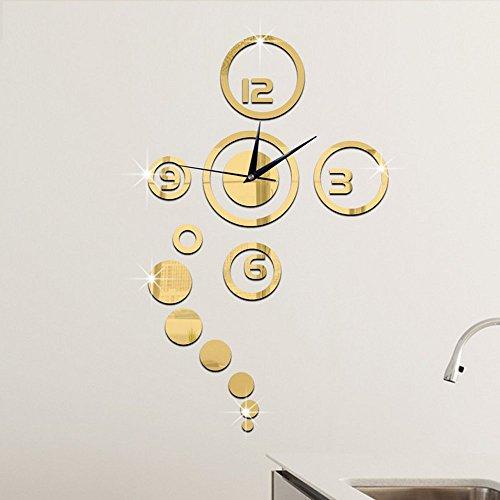 Forepin® DIY Orologio da Parete Adesivi Murales Moderno 3D Effetto Specchio Circolare Design Removibile per Soggiorno Camera da Letto Decal Decorazione -