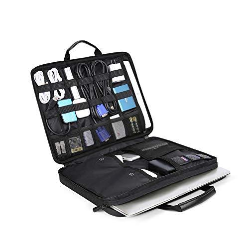 BAGSMART Laptop Aktentasche mit Elektronik Zubehör Organizer, Notebooktasche für 14 Zoll Laptop, 12.9 Zoll Tablet Kabel Ladegerät Netzteil Maus Powerbank,Schwarz