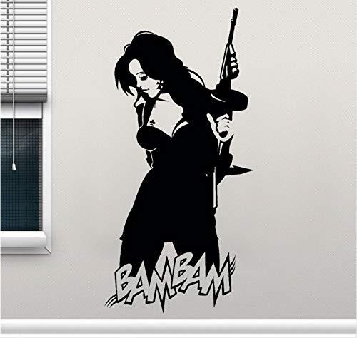 Wuyyii Sexy Hot Gothic Küken Mit Maschinengewehr Gangster Vinyl Wandtattoos Wohnkultur Wohnzimmer Teens Schlafzimmer Aufkleber 42X85 Cm - Sexy Gangster Halloween